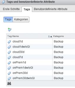 Tags der Kategorie Backup in vSphere
